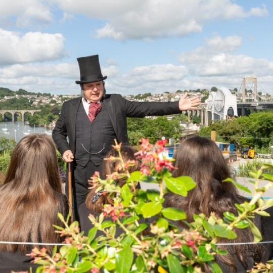 Guide dressed as Isambard Kingdom Brunel at Tamar bridges