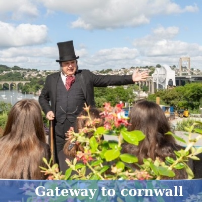 Guide dressed as Isambard Brunel at Tamar Bridges
